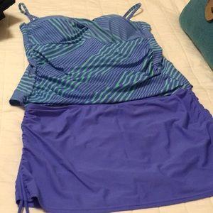 Catalina Tankini Skirted Swimsuit Size L 12-14